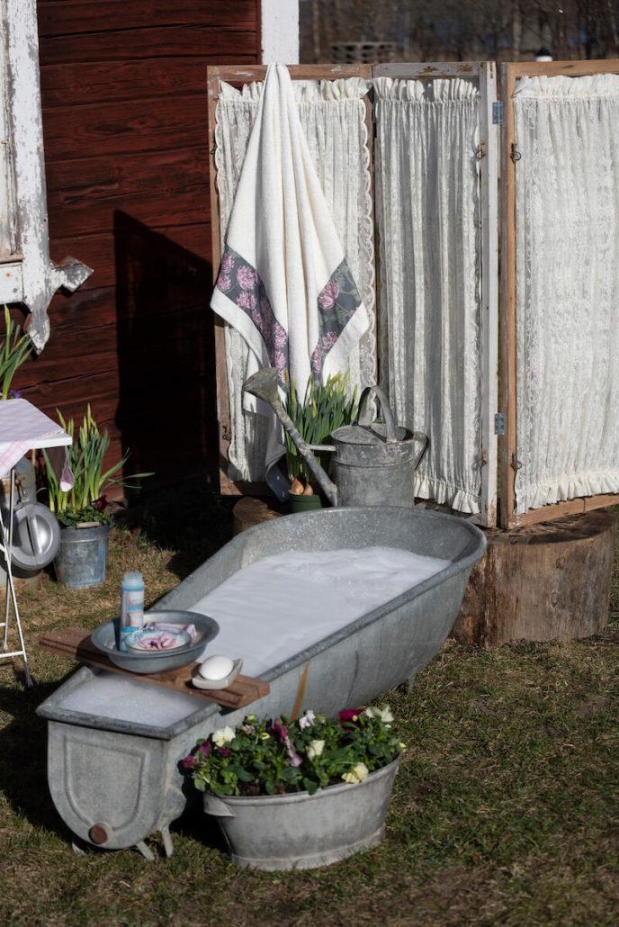 badekar diy kreativ sommer blomster gardiner håndkle