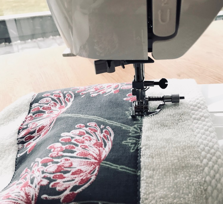 Janome symaskin diy håndkle bade stoff