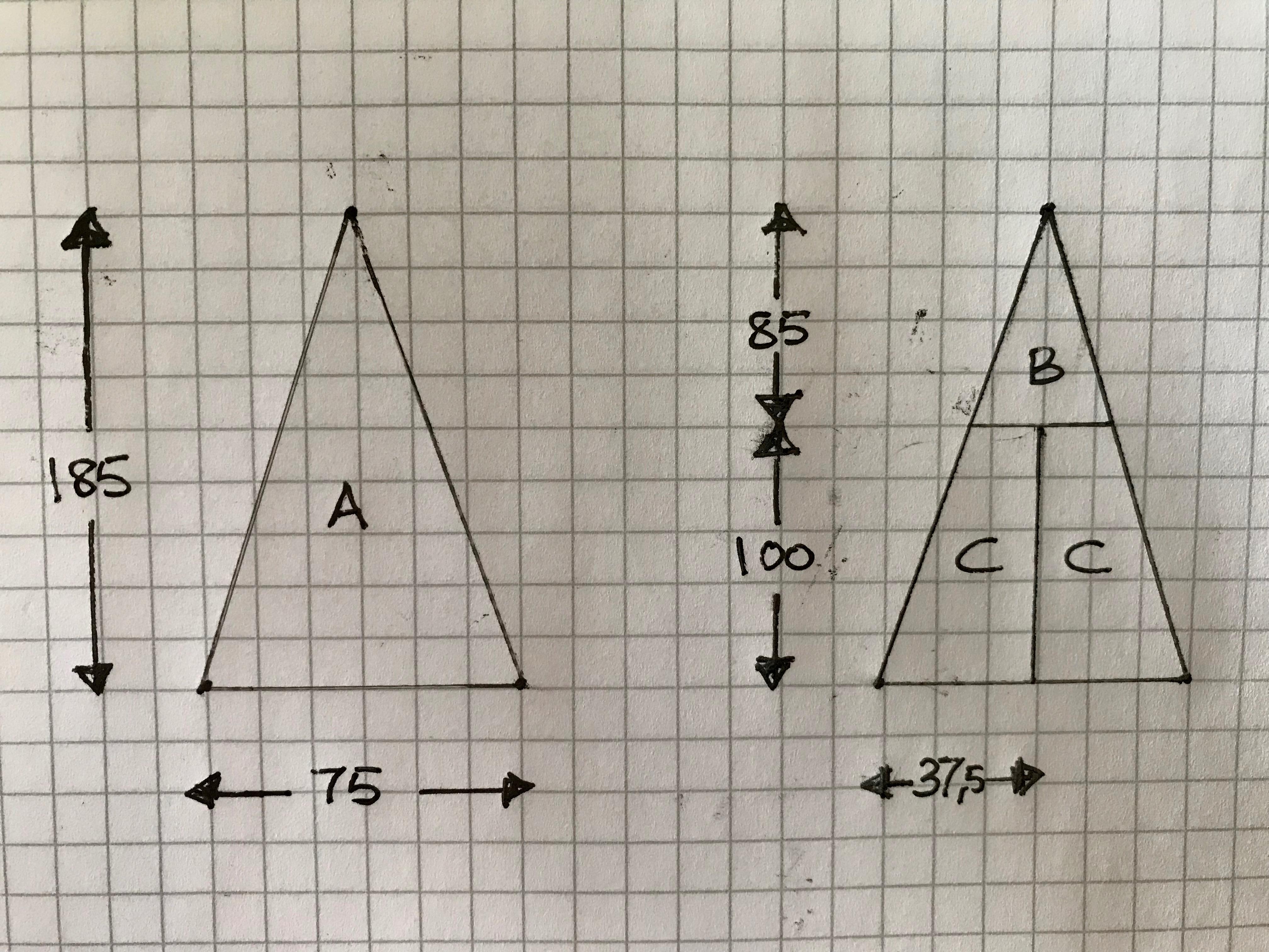 kakestykker tipi sy trekanter