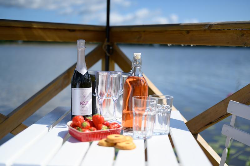 sommer drikk brygge sjø jordbær